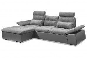 BlackRedWhite Sofa L-Form Jakarta-P links - mit Schlaffunktion - Grau