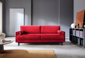 3er-Sofa Adele - mit Schlaffunktion - Kirschrot