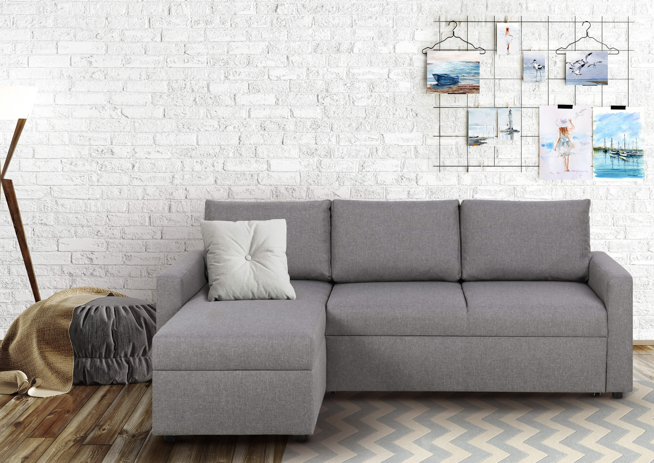 Sofa L Form Sacramento links   mit Schlaffunktion   Grau