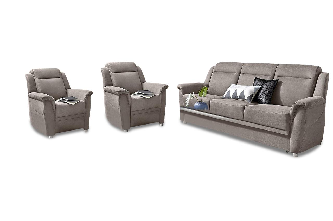 garnitur 3 1 1 mit schlaffunktion grau mit federkern sofas zum halben preis. Black Bedroom Furniture Sets. Home Design Ideas