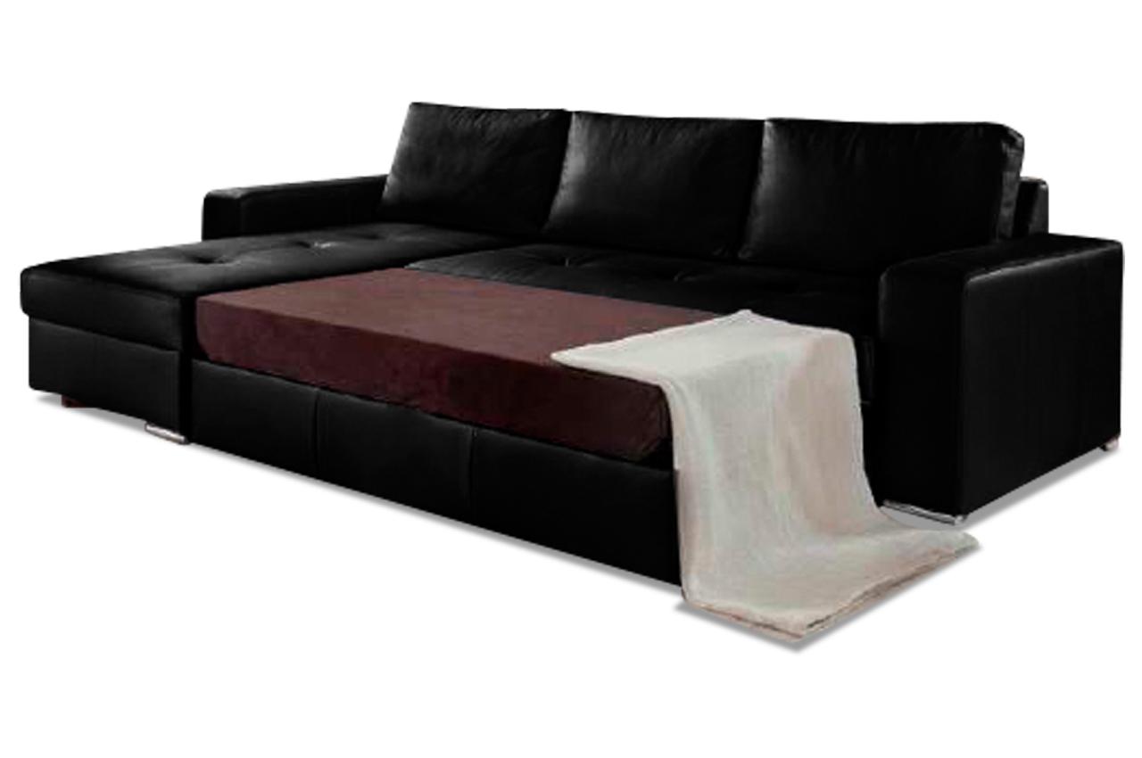 leder ecksofa florentina mit schlaffunktion schwarz sofas zum halben preis. Black Bedroom Furniture Sets. Home Design Ideas