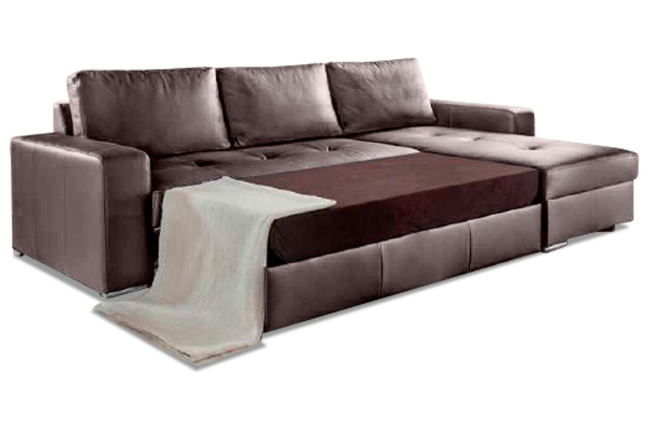 leder ecksofa florentina mit schlaffunktion braun sofa couch ecksofa. Black Bedroom Furniture Sets. Home Design Ideas