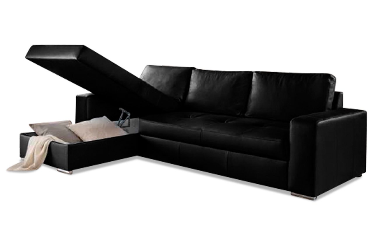 leder ecksofa florentina mit schlaffunktion schwarz. Black Bedroom Furniture Sets. Home Design Ideas