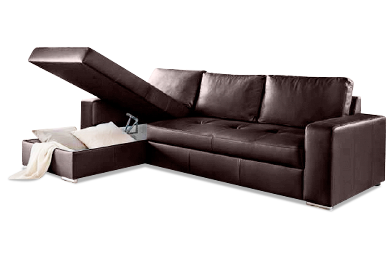 leder ecksofa florentina mit schlaffunktion braun sofas zum halben preis. Black Bedroom Furniture Sets. Home Design Ideas