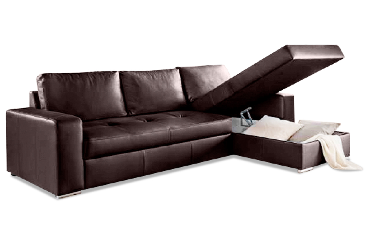 aek leder ecksofa florentina mit schlaffunktion braun. Black Bedroom Furniture Sets. Home Design Ideas