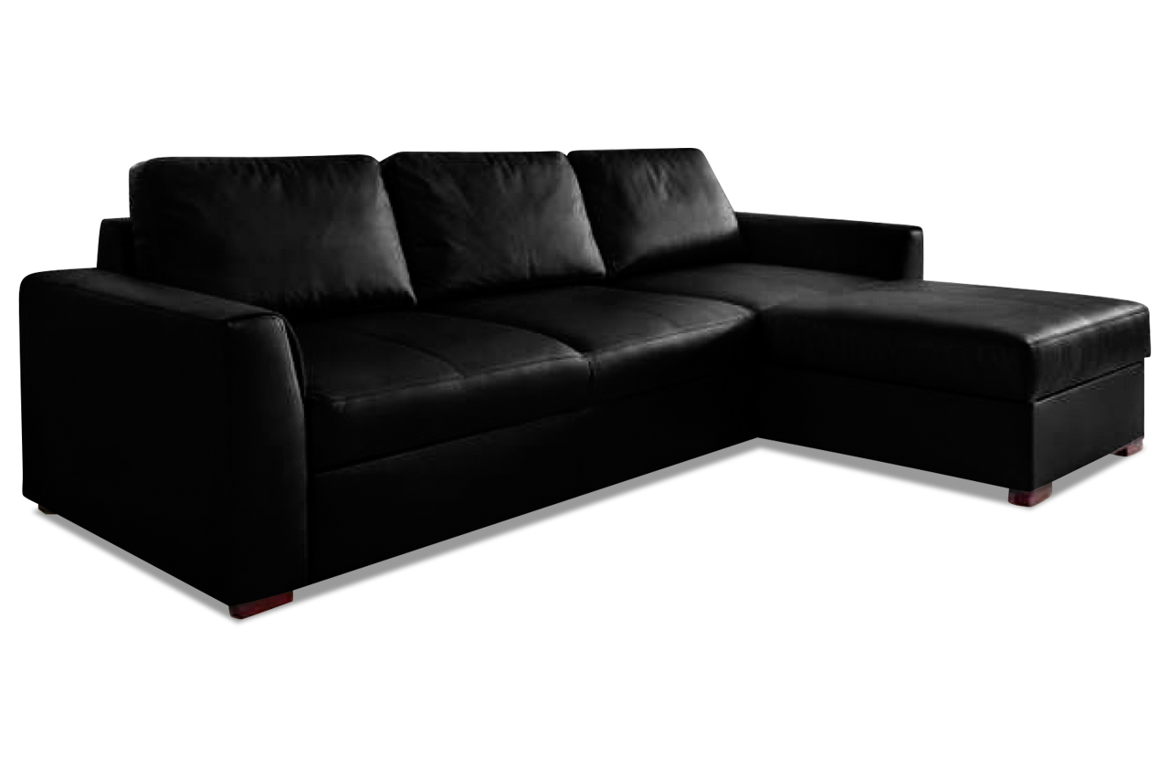 aek leder ecksofa moreno mit schlaffunktion schwarz. Black Bedroom Furniture Sets. Home Design Ideas